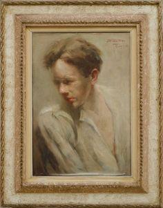 """TIMÓTEO DA COSTA, JOÃO (1879 - 1932). """"Modelo de Academia"""", óleo s/ tela, 55 x 38. Assinado,"""
