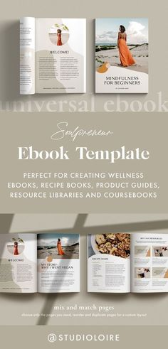 Soulpreneur multi-purpose eBook template for Canva - perfect for creating self help and wellness eBooks, how to guides, recipe books, product guides, resource libraries, course companion books, workbooks and much more. Created with personal growth and wellness coaches in mind, this ebook template includes a variety of cover and content pages, mood and inspiration board pages, quote pages, a recipe page, guide, review and resource pages, call to action and cross-sell pages. #ebooktemplate…