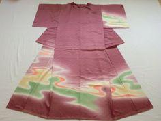 Japanese Vintage Kimono Silk Purple Wave Good Condition P072745 | eBay