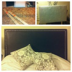 Create a DIY headboard! Photos are from my own that I made this weekend. Cheap, easy, and one of a kind!  Plywood and two 1x4s: $9  Fabric (faux leather in an espresso color): $12 Polyester batting (used for quilting): $14 Decorative nails: $12    I'm really happy with how it turned out. Bought the wood at Home Depot and had them cut it to size. Screwed the 1x4s on, then used a staple gun to attach batting and fabric. Hammered in the strip of decorative nails and DONE!