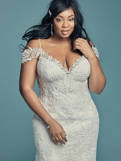 This plus-size mermaid wedding gown offers additional coverage to our Della style. Find a store near you to take a closer look! Fitted Wedding Gown, Wedding Dresses Near Me, Plus Size Wedding Gowns, Designer Wedding Gowns, Perfect Wedding Dress, Bridal Dresses, Sottero And Midgley Wedding Dresses, Curvy Dress, Sandra Bullock