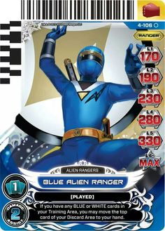 Blue Alien Ranger Power Rangers Trading Card