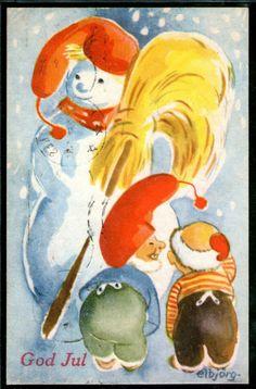 God Jul- (nisse og snømann) sign Elbjörg Öien brukt 1950. Utg Oppi
