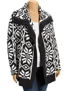 Womens Plus Patterned Open-Front Cardis