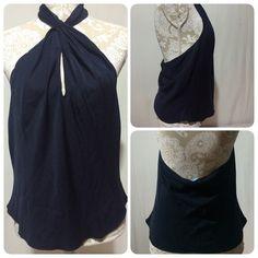 Elie Tahari silk halter size L Dark navy color. Elie Tahari Tops