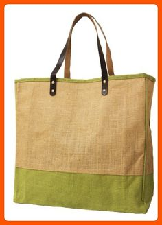 "Jute Burlap Large Bag with Leather handles SageGreen Natural Size 16""W x 15""H x 4""Gusset - CarryGreen Bag - Fun stuff and gift ideas (*Amazon Partner-Link)"
