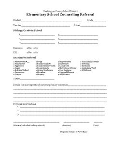 Editable School Counseling Teacher Referral Form $1   Middle ...