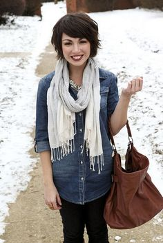 LOVE everything about this picture; so rare to see a great street style pic with a short haired girl!!!