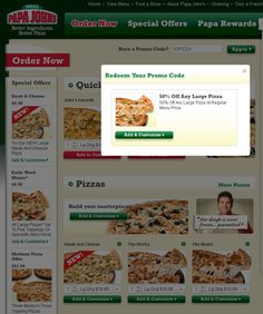 50% off any large pizza at Papa Johns via promo code 50PIZZA coupon via The Coupons App