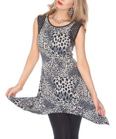 Take a look at this Blue Leopard Sidetail Tunic by Lily on #zulily today!