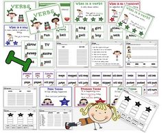This pack focuses on verbs and verb tense. It includes:verb pocket chart center with recording sheetsverb anchor chartnouns anchor charta. Teaching Language Arts, Classroom Language, English Language Arts, Speech Language Pathology, Speech And Language, Teaching English, Nouns And Verbs, Verb Tenses, Grammar Activities