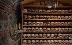 Skulls in the ossiary of the Great Meteoron monastery, Meteora, Thessaly