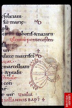 Psalter, England, 3Q 11C probably after 1073.  Arundel 60 f. 4v Cancer