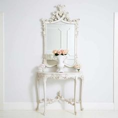 Provencal Heart Top White Mirror | Luxury French Bedroom Mirror