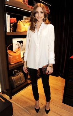 white buttondown shirt, black skinny pants, ankle pants, pointy toe pumps