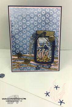Stamps-N-Lingers.  Seaside Shore stamp set. Seaside TIEF.  Jar of Love and Everyday Jars Framelits.https://stampsnlingers.com/2016/06/17/stampin-up-seaside-shore-jar-of-love/