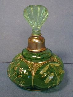 Lovely Green Bulbous, Enameled Perfume Bottle