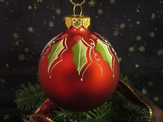 Hand painted Christmas Ball by ChristysCornerShop on Etsy, $10.00