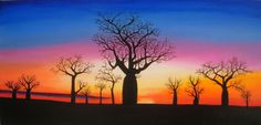 Kimberly Sunset by Rick Lowe. Paintings for Sale. Watercolor Sunset, Watercolor Trees, Watercolor Landscape, Landscape Paintings, Watercolour Painting, Sunset Silhouette, Tree Silhouette, Simple Canvas Paintings, Paintings For Sale