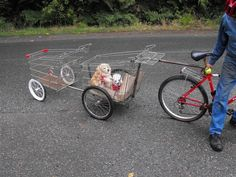 How to build a bike trailer from a shopping cart and old bicycles Bike Wagon, Hunting Backpacks, Build A Bike, Trailer Diy, New Motorcycles, Cargo Bike, Old Bikes, Transporter, New Tyres