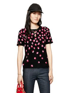 kate spade falling florals sweater short sleeve $196 | kate spade