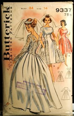 Butterick 9337 Wedding Gown or Bridesmaid Dress Vintage 60s Sewing Pattern Dress Sz 14