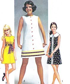I used to make dresses like this because they were easy and didn't take much fabric!  1960s Dress Pattern Simplicity 8609 Mod Sleeveless by paneenjerez, $10.00