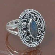 LABRADORITE 925 STERLING SILVER RING JEWELRY 4.93g DJR7011 SIZE 6.5 #Handmade #Ring