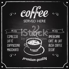 Retro coffee typography sign on a chalkboard. Can be used as menu board for restaurant or bars. This file is saved in EPS10 format.