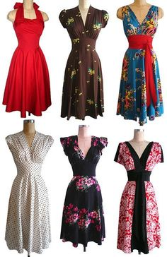 Retro Dresses My sister and I discovered Trashy Diva during a trip to New Orleans. Love these vintage style dresses - Shop retro dresses, Retro Mode, Vintage Mode, Vintage Style Dresses, Vintage Outfits, 1940s Dresses, 1940s Fashion, Vintage Fashion, Pretty Dresses, Beautiful Dresses