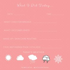 CUTE AND EASY Instagram Story Templates -What I Did Today #Instagramtemplates #storytemplates #instagram #fashion #beauty #style #blogger