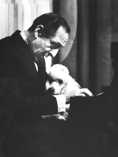 Portrait of Pianist Vladimir Horowitz at Piano with Poodle, Return to New York Concert Stage   - by Gjon Mili