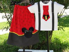 Mickey Minnie Brother Sister Matching Outfit Dress/Shirt Set Classic Colors Disney Vacation, Birthday Outfits on Etsy, $49.95