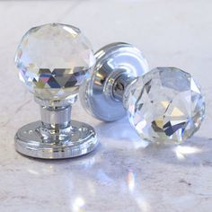 Faceted Crystal Mortice Internal Turning Door Knobs