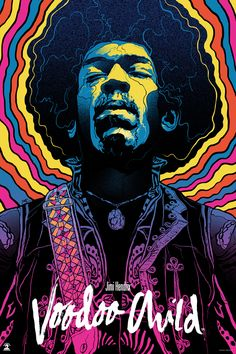 Gabz Jimi Hendrix, Voodoo Child Poster Release From Dark Hall Mansion - Art artisan pour les enfants Psychedelic Rock, Psychedelic Colors, Rock Posters, Band Posters, Retro Posters, Rock And Roll, Art Hippie, Art Et Design, Psy Art
