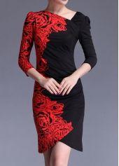 Trendy Print Design Long Sleeve Woman Dress for Autumn