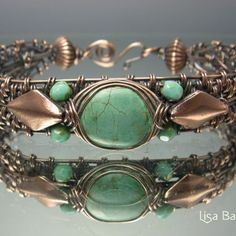 Woven Turquoise Bracelet   JewelryLessons.com- wrapping/ cab- with other textures, bead weaving.