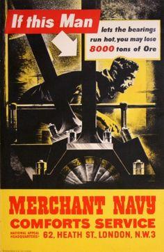 Merchant Navy, 1940s - original vintage poster listed on AntikBar.co.uk
