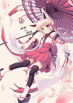 Artist: 美咲 ゆう (Misaki Yuu) - Source: http://www.pixiv.net/member_illust.php?mode=medium&illust_id=61195587 - Tags: #FoxGirl ; #FoxEars ; #Kitsunemimi ; #Kitsune ; #WhiteKitsune : #WhiteHair ; #Kimono