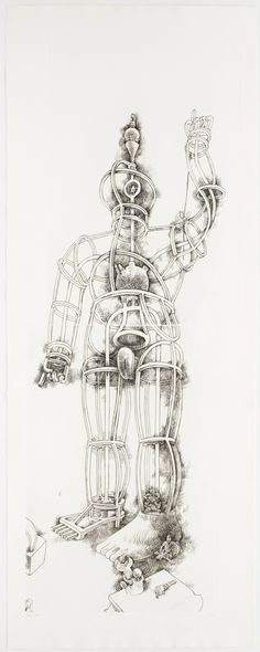 Tom Otterness – Giant, 1994, Engraving (image of a giant sculpture under construction)