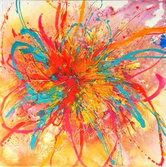 Not a Print - Original Flower Floral Art by Caroline Ashwood - contemporary modern painting on large canvas - FREE SHIPPING