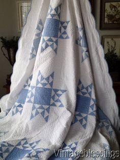 """Lovely! c1900 Blue and White Stars QUILT 90x76"""" Great Quilting"""