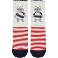Accessorize Winky Pom Pom Koala Sock (91 ZAR) ❤ liked on Polyvore featuring intimates, hosiery, socks, pom pom socks, stripe socks and striped socks