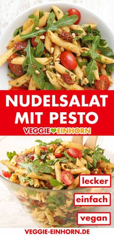 Super delicious Mediterranean pasta salad with pesto, arugula and dried tomatoes. The Italian pasta salad is vegetarian, vegan and without majo. Simple Mediterranean pasta salad with pesto Chicken Salad Recipes, Meat Recipes, Chicken Pasta, Pasta Recipes, Fruit Plus, Mediterranean Pasta Salads, Pasta Salad Italian, Maila, Vegan Pasta