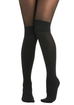 Know a Trick or Two Tights | Double your loveliness in half the time with these stockings that feature an opaque-black bottom half with a thigh-high-like look that includes a ribbed band just above the knee, while sporting a more sheer section above, to create the illusion of a layered look with only one piece! Brainstorm a bunch of ways to wear these 'built-ins' - beneath black shorts that welcome a tucked-in floral blouse or let a pleated shift playfully fall above calf-high boots.