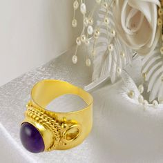 1 Pcs Natural Amethyst Cabochon Gemstone Oval Shape 24k Gold Plated Cuff Ring #AnyOccasion