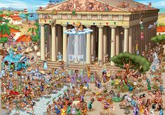 Acropolis Of Athens - Cartoon Puzzle, 1000 pieces.  Fun puzzle to look at after it's been fixed!  Lots of activity going on and Zeus doesn't appear to have much control over his Athenians!