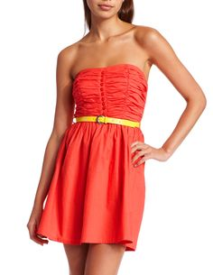 just ordered this from Charlotte Russe...loving the color combination!! Coral Cotton Tube Dress ~jv
