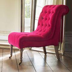 Pink Velvet Chair | Graham and Green pink velvet slipper chair for one's boudoir…