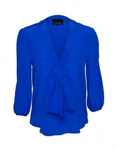 Cynthia Rowley Bow Blouse in Blue $250